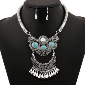 A Suit of Artificial Gem Water Drop Necklace and Earrings