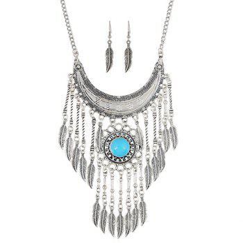 A Suit of Artificial Gem Moon Leaf Necklace and Earrings - SILVER/BLUE