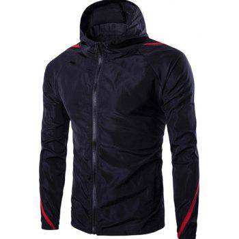 Modish Hooded Color Block Spliced Long Sleeve Zip Up Men's Jacket