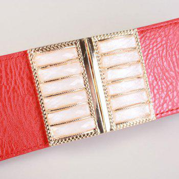 Chic Faux Gem Inlay Rectangle Metal Women's Elastic Waistband - RED