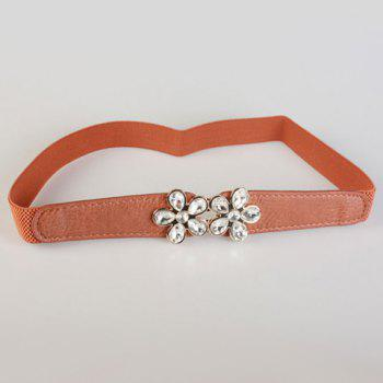 Chic Rhinestone Inlay Flower Shape Embellished Women's Elastic Waistband