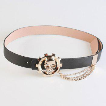 Chic Helm Skull Shape and Chain Embellished Women's PU Belt