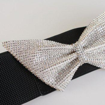 Chic Rhinestone Inlay Big Bowknot Women's Elastic Waistband - BLACK