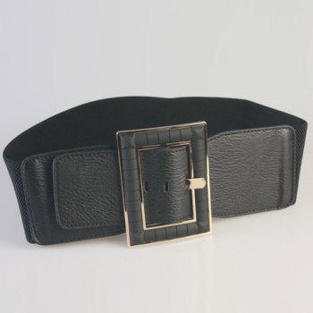 Chic PU Embellished Pin Buckle Women's Black Elastic Waistband