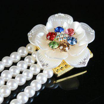 Fashionable Artificial Gem Flowers Decorated Pearls Waist Chain For Women - WHITE