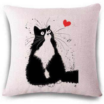 Creative Heart and Kitten Pattern Square Shape Flax Pillowcase (Without Pillow Inner)
