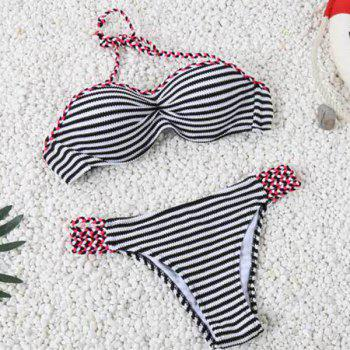 Charming Striped Halter Navy Style Women's Two-Piece Bikini