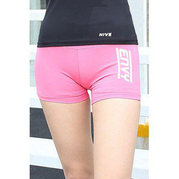 Stylish Elastic Waist Letter Print Women's Gym Shorts