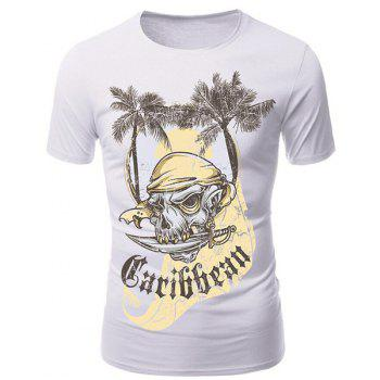 Round Neck 3D Coco and Pirate Skull Print Short Sleeve Men's T-Shirt