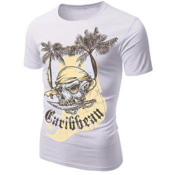 Round Neck 3D Coco and Pirate Skull Print Short Sleeve Men's T-Shirt - WHITE 2XL