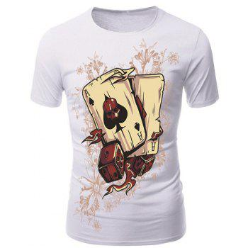 Round Neck 3D Poker and Dice Print Short Sleeve Men's T-Shirt