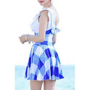 Stylish High Waist Plunging Neck Checked Swimwear For Women - BLUE L