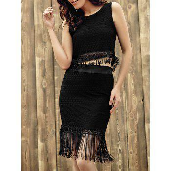 Chic Sleeveless Round Neck Lace Crop Top + Fringed Pure Color Skirt Women's Twinset