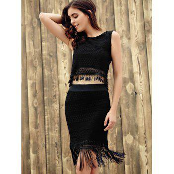 Chic Sleeveless Round Neck Lace Crop Top + Fringed Pure Color Skirt Women's Twinset - BLACK ONE SIZE(FIT SIZE XS TO M)