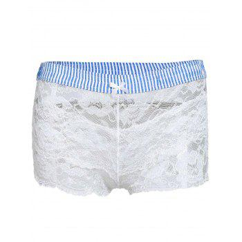Sexy Elastic Waist Striped Women's Lace Shorts