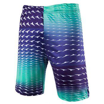 Modish Straight Leg Gradient Color Elastic Waist Men's Swimming Trunks