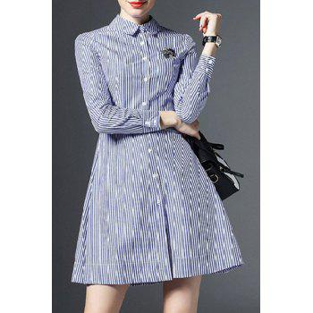 Stylish Women's Shirt Collar Long Sleeves Stripe Dress