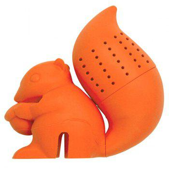 High Quality Creative Silicone Tea Filter Squirrel Shape Teabags Strainer - ORANGE