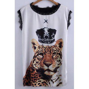 Casual Tiger Print Lace Detail Women's T-Shirt
