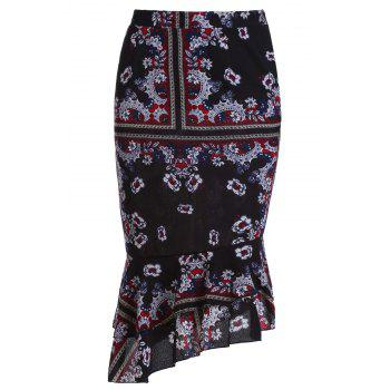 Stylish High Waist Ethnic Print Mermaid Women's Skirt