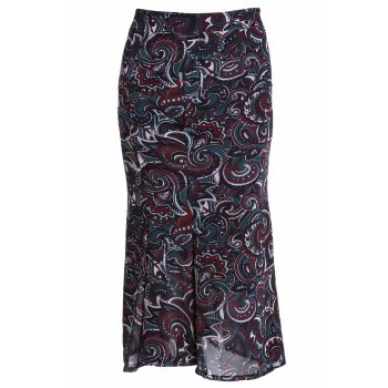 Stylish High Waist Paisley Print Mermaid Women's Skirt
