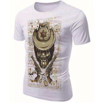 Modish Round Neck 3D Skull Guns Pattern Short Sleeve Men's T-Shirt - WHITE L