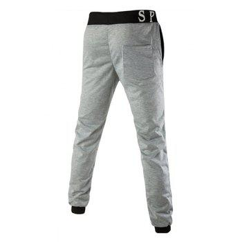 Loose Fit Letters Print Color Spliced Men's Lace-Up Jogger Pants - GRAY 2XL