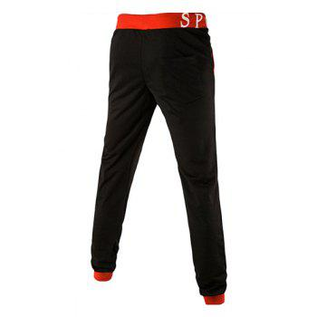 Loose Fit Letters Print Color Spliced Men's Lace-Up Jogger Pants - RED XL