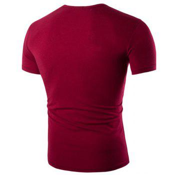 Round Neck Faux Twinset Letters Pattern Print Short Sleeve Men's T-Shirt - RED 2XL