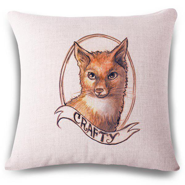 Creative Hand Painted Fox Letter Pattern Square Shape Flax Pillowcase (Without Pillow Inner) - COLORMIX