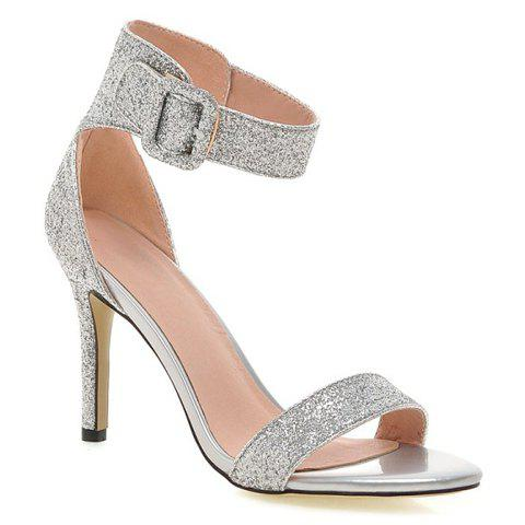Fashionable Stiletto Heel and Sequined Cloth Design Women's Sandals - SILVER 38