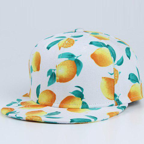 Trendy Vivid Lemon and Leaf Pattern Baseball Cap - WHITE