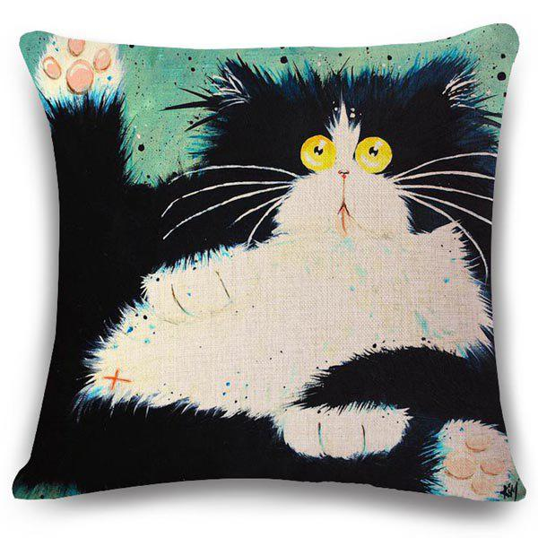 Creative Fat Cat Pattern Square Shape Flax Pillowcase (Without Pillow Inner) - COLORMIX