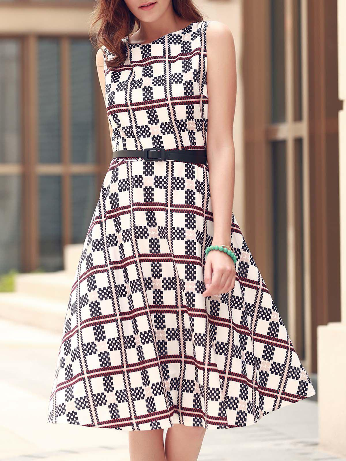 Plaid Fit and Flare Dress - WHITE XS