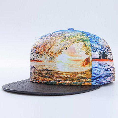 Trendy 3D Sea and Sunlight Pattern PU Brim Baseball Cap - LIGHT BLUE