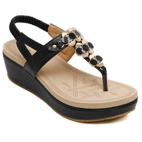 Fashionable Metal and Flip Flop Design Women's Sandals - BLACK 35