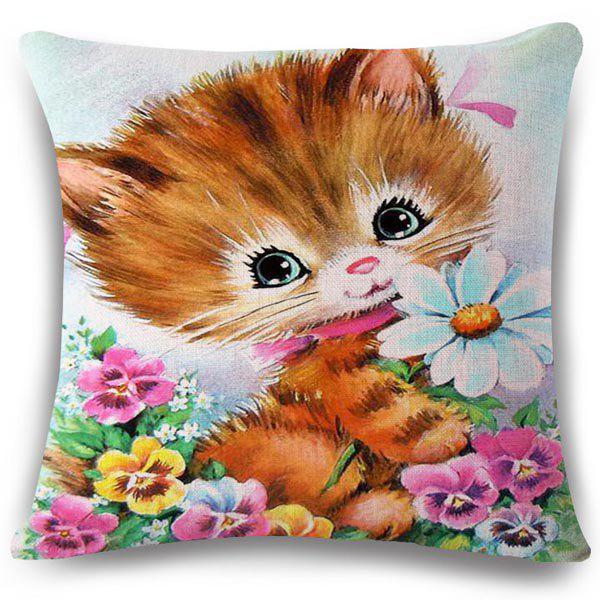 Creative Floral and Kitten Pattern Square Shape Flax Pillowcase (Without Pillow Inner)