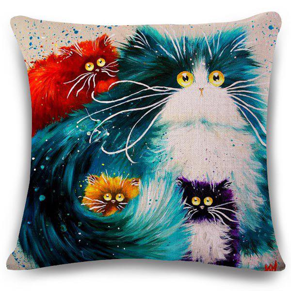 Creative Colorful Kittens Pattern Square Shape Flax Pillowcase (Without Pillow Inner) - COLORMIX