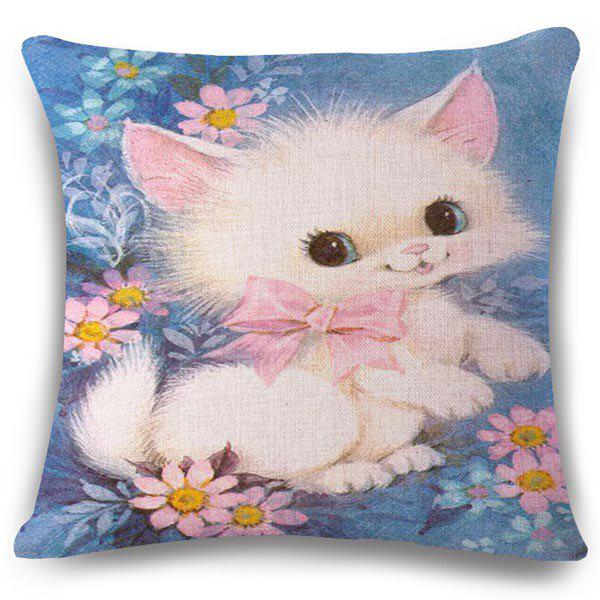 Creative Bowknot Sweet Kitten Pattern Square Shape Flax Pillowcase (Without Pillow Inner) - COLORMIX