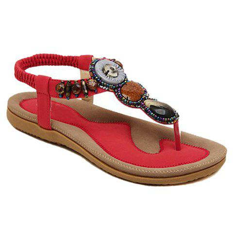 Casual Elastic and Flip Flop Design Women's Sandals - RED 38