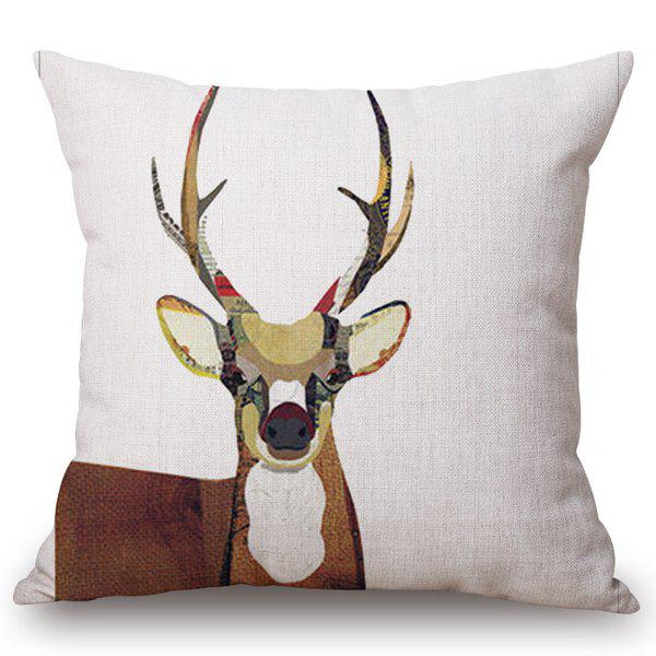 High Quality Colorful Elk Pattern Cotton and Linen Pillow Case(Without Pillow Inner) - WHITE