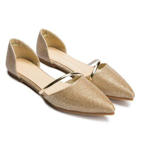 Stylish Solid Colour and Sequined Cloth Design Women's Flat Shoes - GOLDEN 34