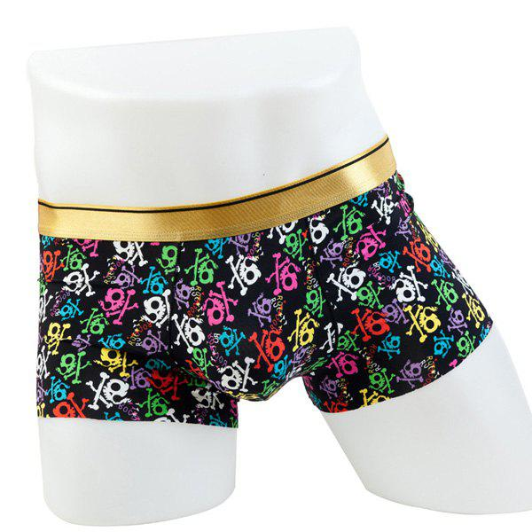 Elastic Waist Colorful Skulls Pattern Comfortable Boxer Brief For Men