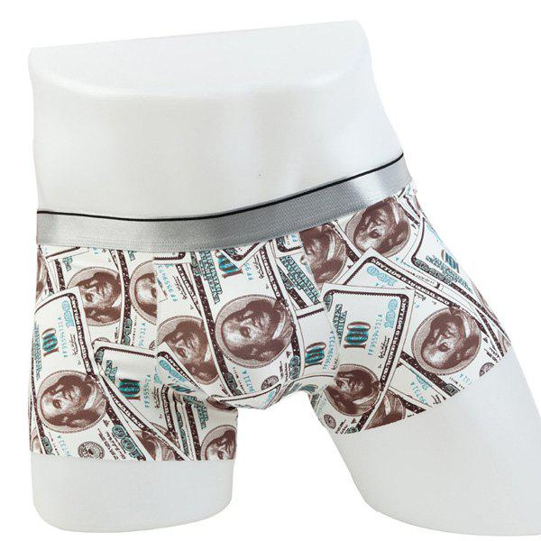 Elastic Waist Dollars Pattern Comfortable Boxer Brief For Men