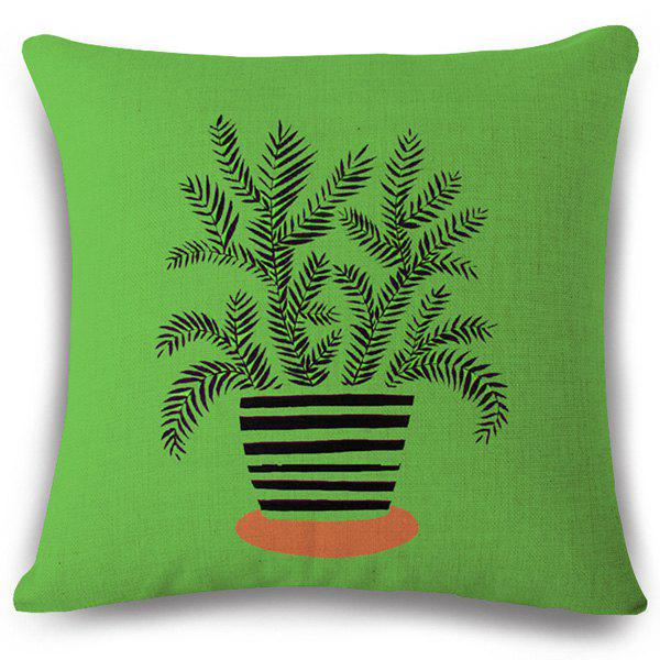 Creative Striped Bonsai Pattern Square Shape Flax Pillowcase (Without Pillow Inner) - BRIGHT GREEN