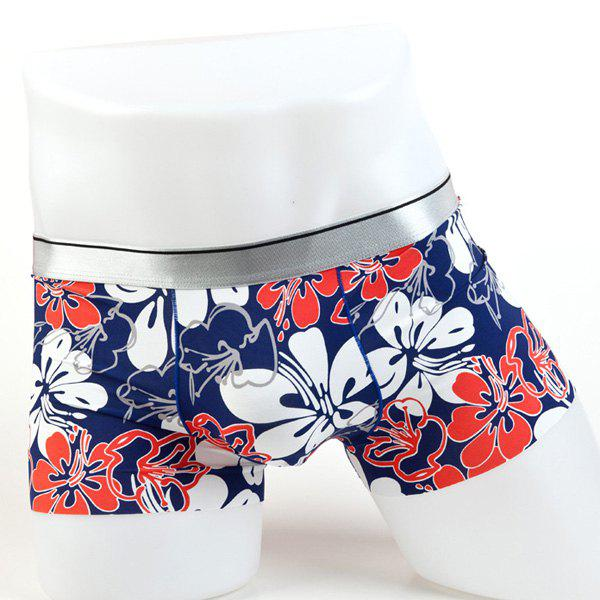 Elastic Waist Flowers Pattern Comfortable Men's Boxer Brief - COLORMIX L
