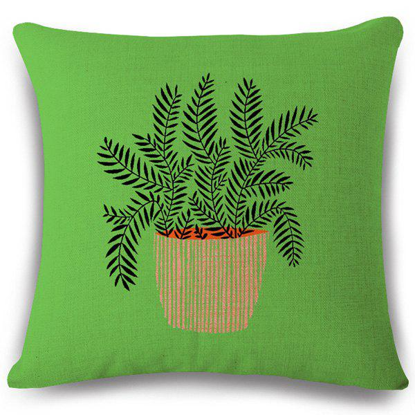 Creative Vertical Striped Bonsai Pattern Square Shape Flax Pillowcase (Without Pillow Inner)