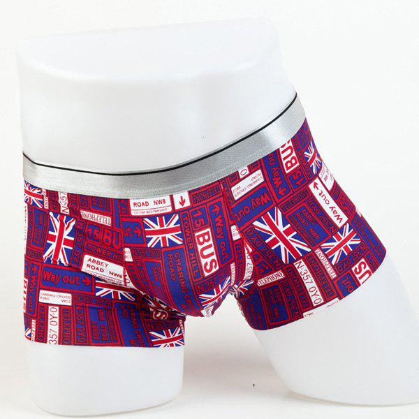 Elastic Waist Letters and Union Jack Pattern Comfortable Men's Boxer Brief