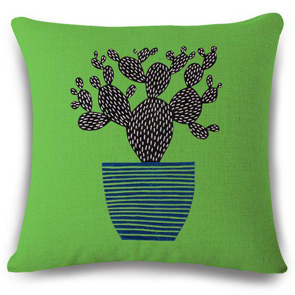 Creative Cactus Bonsai Pattern Square Shape Flax Pillowcase (Without Pillow Inner) - COLORMIX