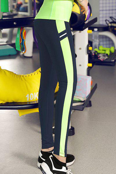 Slimming Color Block Bodycon Women's Gym Pants - NEON GREEN XL